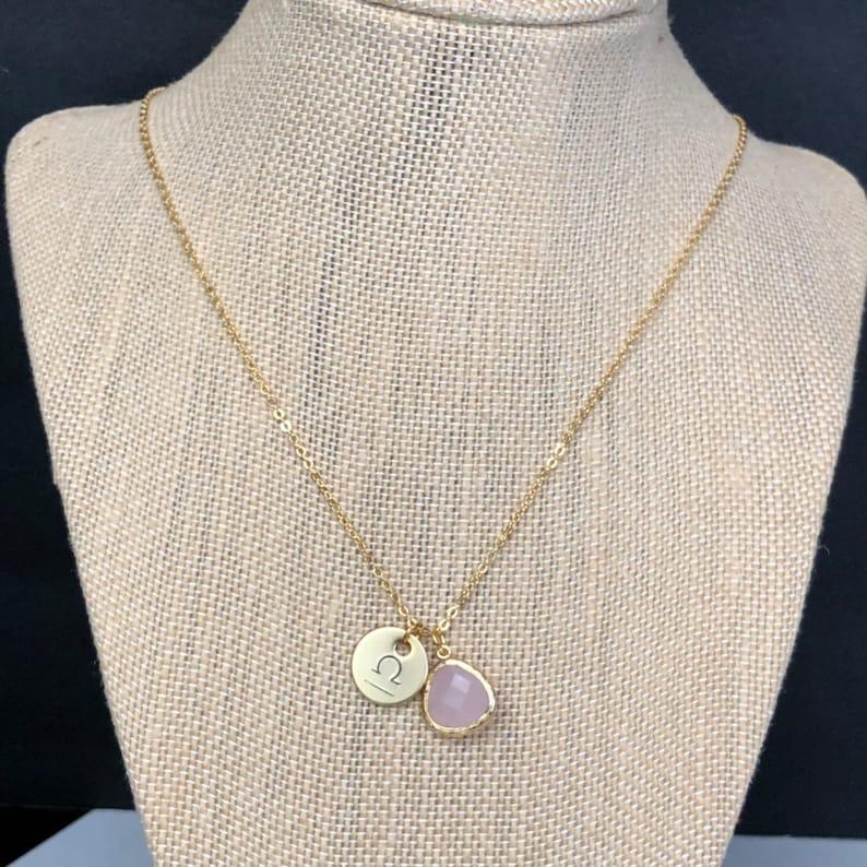 October Birthday Jewelry Opal necklace Libra Star sign necklace Zodiac Necklace Libra October Birthstone Necklace Gold Zodiac Necklace