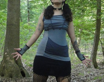 Clarke tank top comfy post-apocalyptic patchwork punk size S/M | OOAK sustainable reclaimed materials