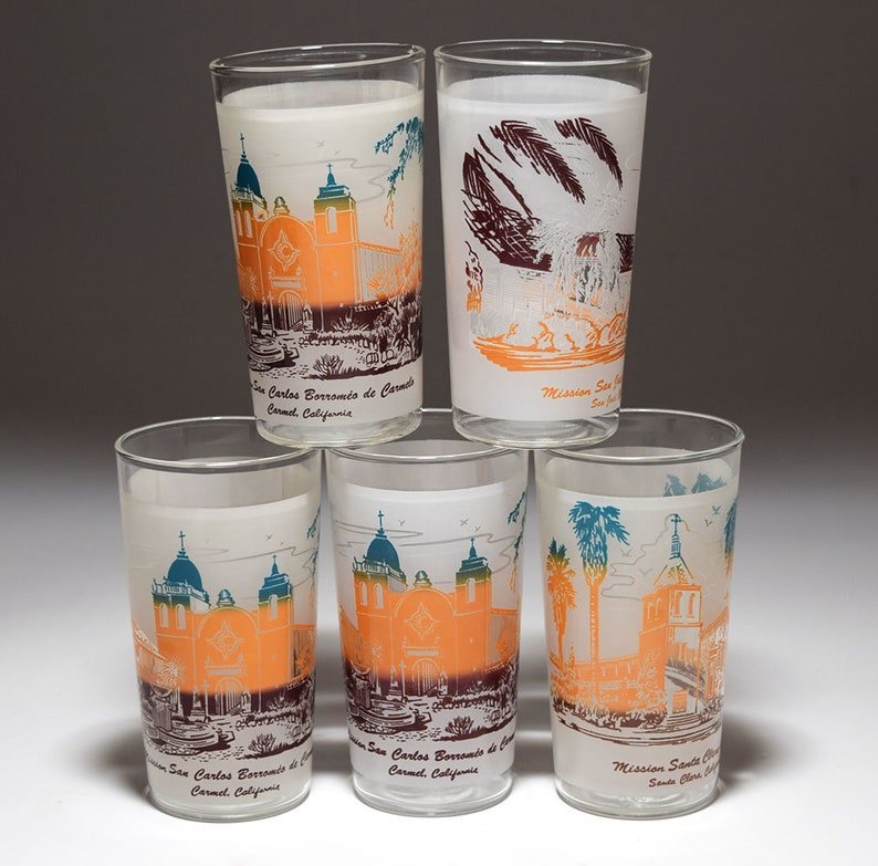 California Mission Frosted Tourist Tumblers by Libby 1950/'s Vintage-Lot of 8
