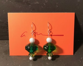 Swarovski Crystal, Recycled Glass and Sterling Earrings