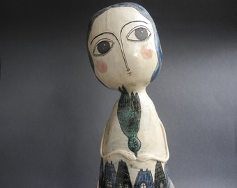 Ceramic sculpture,Ceramic doll,One of a kind doll,Art doll,Hand built sculpture,Clay sculpture,Wall hanging sculpture Blue city  person