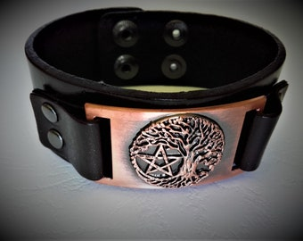 Leather and copper Pentacle tree of life bracelet