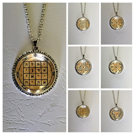 7 Pentacles of Saturn charms   Talismans of Solomon   seal of Solomon   necklaces rituals