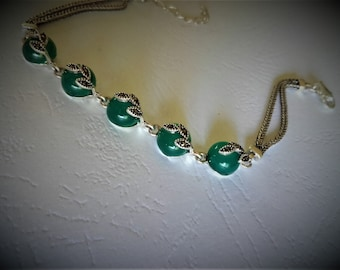 Bracelet green chalcedony and Sterling Silver 925