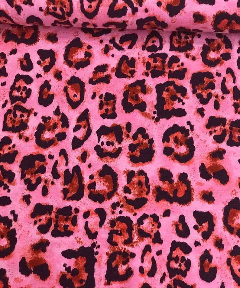 aaca94ca425421 Cotton jersey Animal Print in rot/pink   Etsy