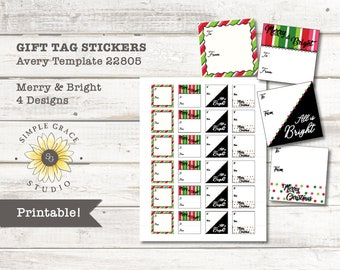 Template 22805 | Christmas Gift Tag 3 Pack Avery Template 22805 Printable Etsy