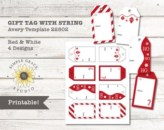 red white christmas gift tags with string avery template 22802 printable 2 x 35 white