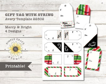 merry bright christmas gift tags with string avery template 22802 printable 2 x 35 white