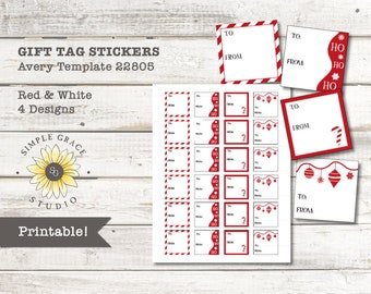 red white christmas gift tag stickers avery template 22805 printable square 15 x 15 white