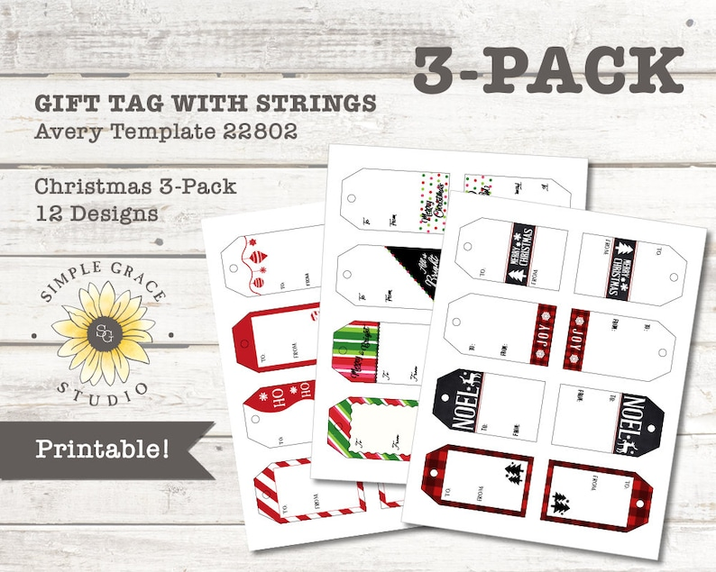 graphic about Avery Printable Tags With Strings titled Xmas Present Tags with String: 3-Pack, Avery Template 22802, Printable, 2\