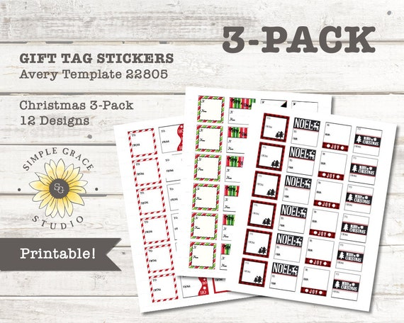 christmas gift tag 3 pack avery template 22805 printable etsy image 0 maxwellsz