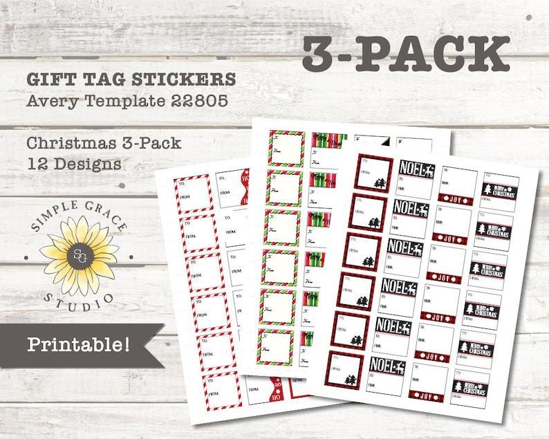 Christmas Gift Tag 3 Pack Avery Template 22805 Printable Etsy