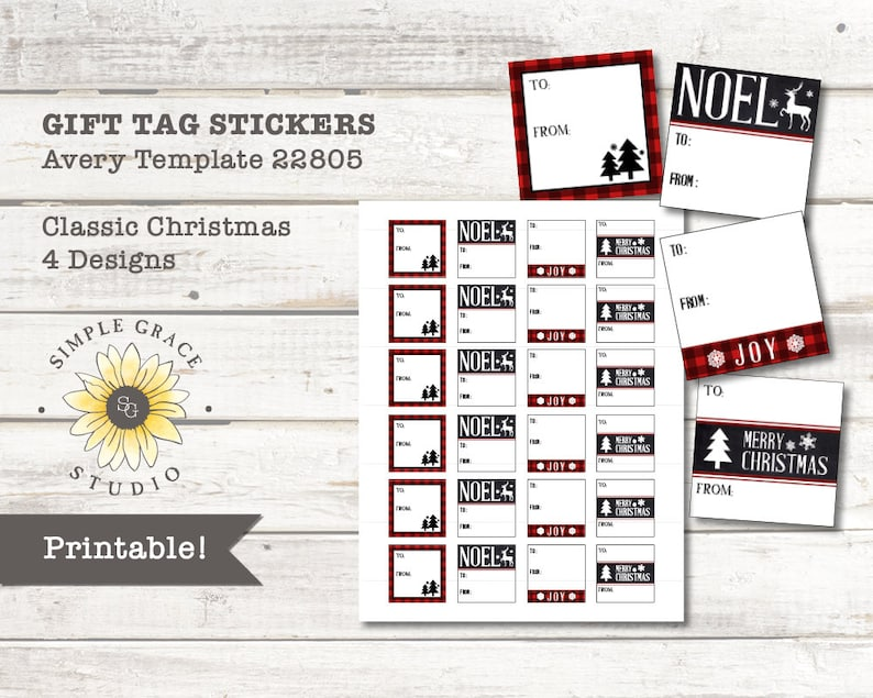 Classic Christmas Christmas Gift Tag Stickers Avery Etsy