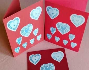 Card(Set of 10)/ Valentine : Sky Hearts