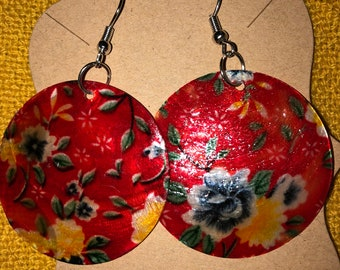 Red Capiz Shell Earrings