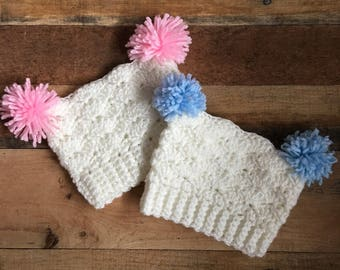 Newborn Hospital Double Pom Hat