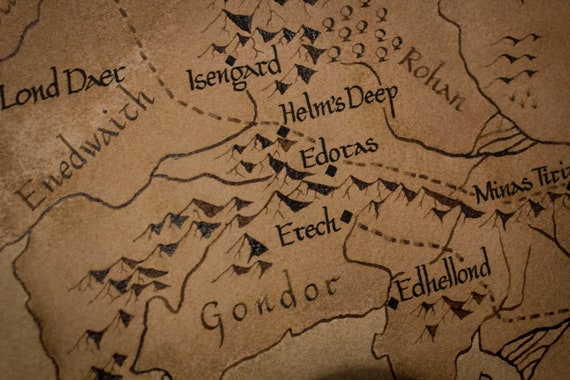 Handmade map of Middle Earth ~A3 size, watercolour on cotton paper