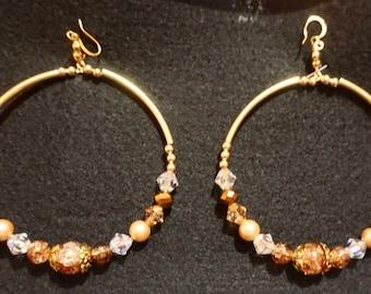 Bronze/Gold Beaded Hoop Earings