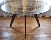 Vintage Adrian Pearsall Walnut w Glass Top Dining Table 1135 - 60s Mid Century Modern