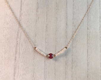 pearl + ruby necklace