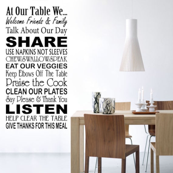 At Our Table Wall Quotes Wall Decals Dining Room Wall Etsy