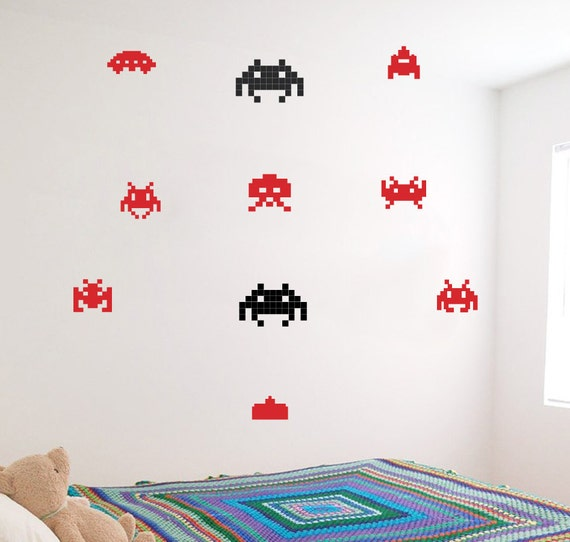 space invader wall decals playroom decal game room | etsy