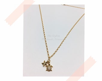 Long Necklace with Star and Turtle