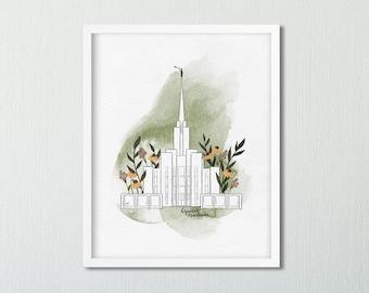 Oquirrh Mountain Utah Temple Digital Print, LDS Temple Art, Watercolor Temple Design, Digital Art Printable, LDS Missionary Gift under 5