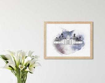 Idaho Falls LDS Temple Art Print, Watercolor Temple Illustration, LDS Printable of Idaho Falls Temple, Printable Postcard for Missionaries