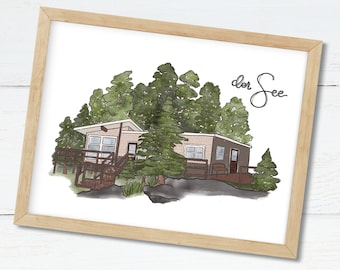 Hand Drawn Custom Home Portrait Print. House Painting Gift for Family. Custom New Home Gift. Personalized House Drawing Print.