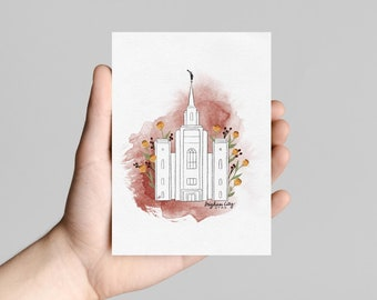 LDS Printable Temple Art, Brigham City Temple Print, Utah Mormon Temple, Watercolor Art Print, LDS Gift for Young Women, Gift under 10