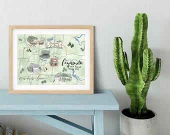 Personalized Map. Custom Hand Drawn Map. Home Sweet Home Gift. Custom Wall Art Print. Digital Home Town Map. New Home Gift. Housewarming.