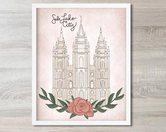 LDS Temple Art Digital Print, Wall Art Salt Lake City Mormon Temple Print, LDS Temple Sealing, Latter Day Saint Wedding Gift for Newlywed