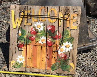 Ida Vantasell Tole Painted Welcome Sign