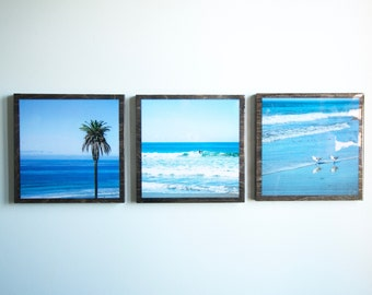 Cali Beach Day / 3 Wood Canvas Set / Photography / WALL ART