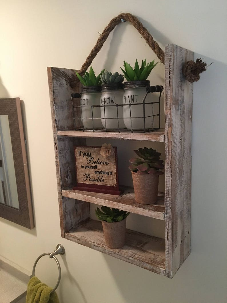 3 Tier Rustic Bathroom Shelf Decor Farmhouse Furniture Etsy