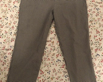 Vintage Gingham Pants|Trousers|Size 14|Checkered Pattern