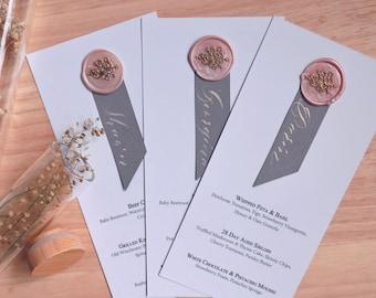 Cherry Blossom Menu Card, Wax Seal Menu Card, Menu with Guest Name, Wreath Wax Seal Menu Card, Menu and Placecard, Personalised Menu Card