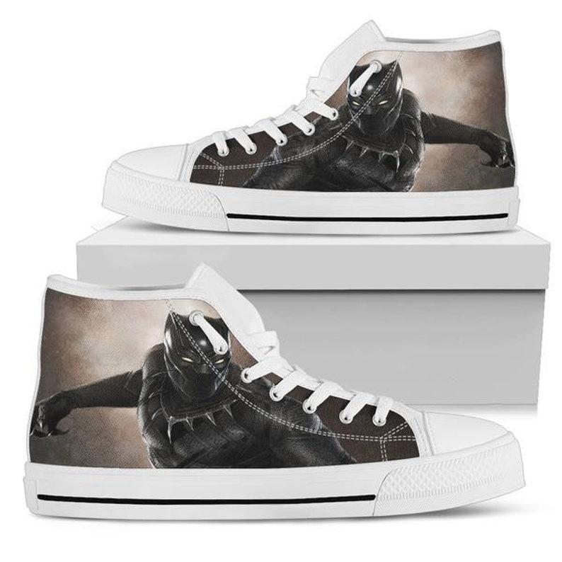 fb0c418e95 Black Panther High Top Sneakers Custom Wakanda Shoes Black