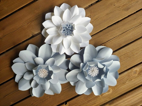 Large Paper Flowers Wall Flowers Paper Flower Wall Decor Wedding Decor Nursery Decor Gray And White Flowers Front Door Decor Door Flower