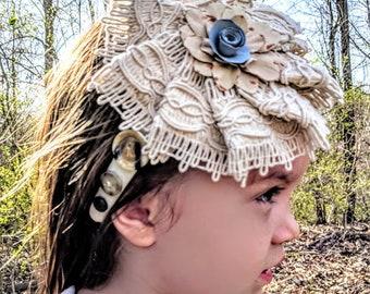 Ivory Headband, Flower Headband, Button Headband, Handmade Headband, White Hard Headband, Girl Headband, Womens Headband, Girl Birthday Gift