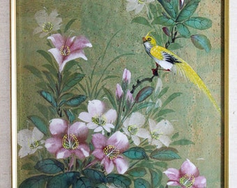 Set of two japanese floral silk screens with birds.