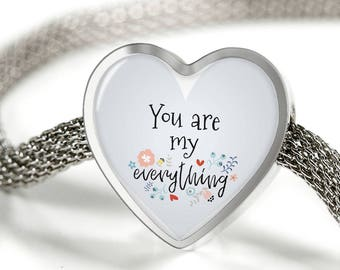 You are my everything-Handmade Stainless Steel-heart charm bracelet-personalized jewelry-customized gift-love jewelry-jewelry for her