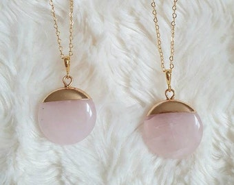 Fantasitc rose quartz RQP02 pendant clear and natural gemstone set in 925 Sterling Silver faceted gift idea birthday gemstone pendant pink