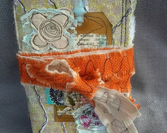Handmade Fabric Travelers note book insert or stand alone junk journal.  (Orange colour)