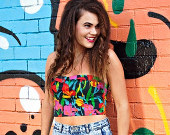 e8a90cafe4f Vintage 80s Bustier Crop Rainbow Multi-coloured Size 8-10. Small. Cyndi  Lauper