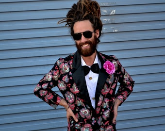 Vintage 80s Tuxedo Suit Prom Jacket Size Medium PROM KING