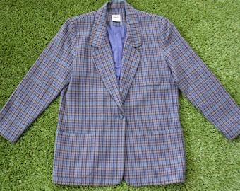 Vintage 80/'s ** Open Front ** Single Button ** Vivid Blue ** On Trend ** Jacket ** Top ** Size ML