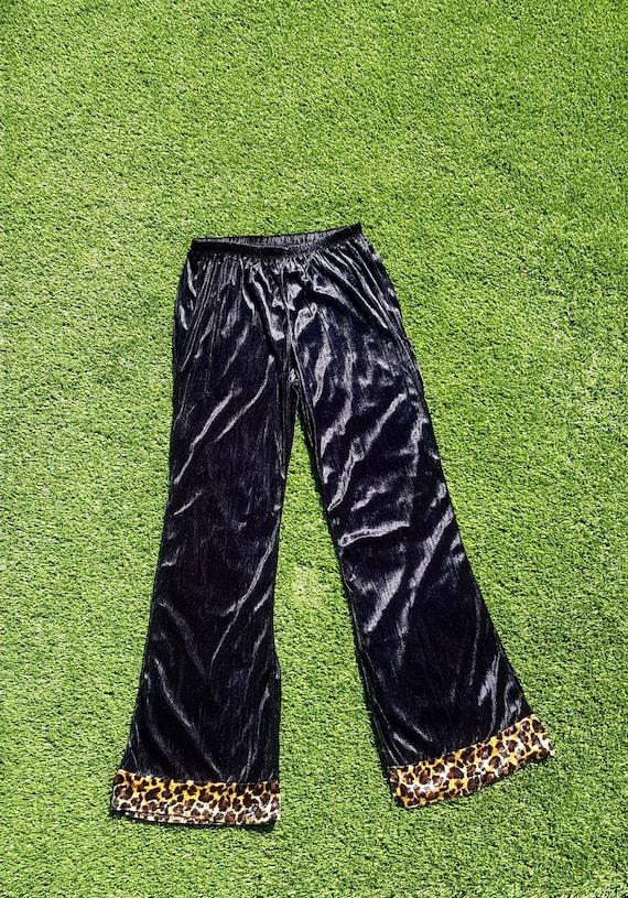 Vintage 90s Black Velvet & Leopard Print Flares, 9