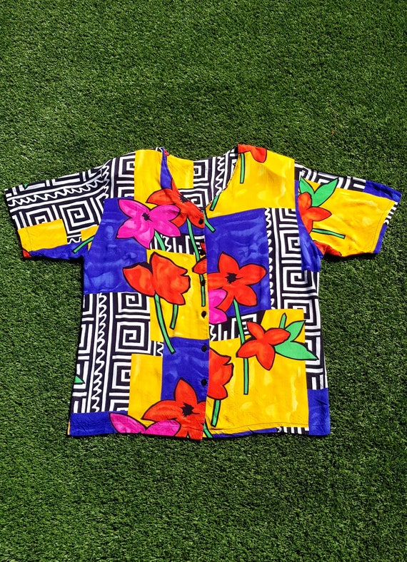 Vintage 80s Shirt, Size 18 80s Abstract Shirt. 80s